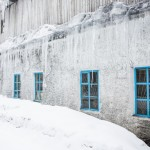 Icicles cover this Soviet-built fishery factory in Sakhalin.