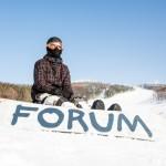 A snowboarder in Yuzhno-Sakhalinsk.