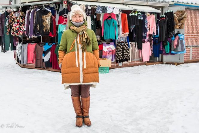 A Korean woman at the Yuzhno-Sakhalinsk market.