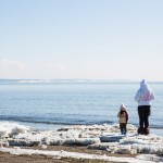 A mother and child taking in the views of Sakhalin.