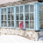 A temporary solution to a broken window found by the owner of this dacha.
