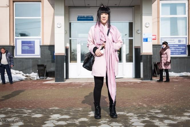 A Korean woman outside the Yuzhno-Sakhalinsk post office.