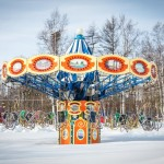 Snow covers the amusement park in Yuzhno-Sakhalinsk.