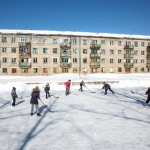 Sakhalin children playing hockey.