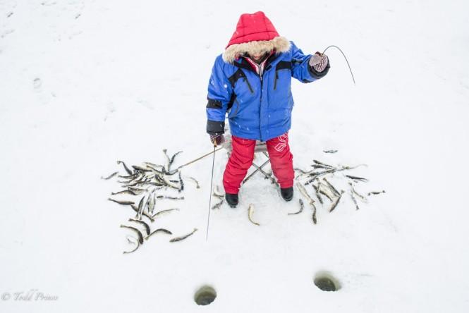 A Korean woman fishing in Poronaisk