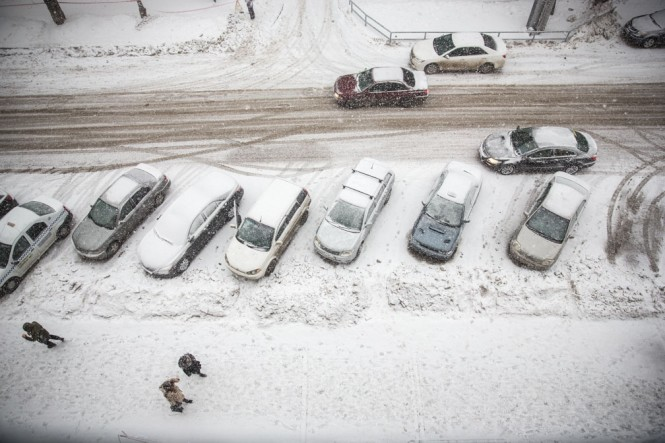 A snow storm in Novosibirsk as seen from a hotel room.