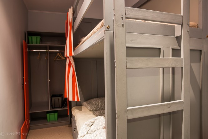 The two-bed room. The bottom bed could expand out if a couple would prefer to share the same bed.