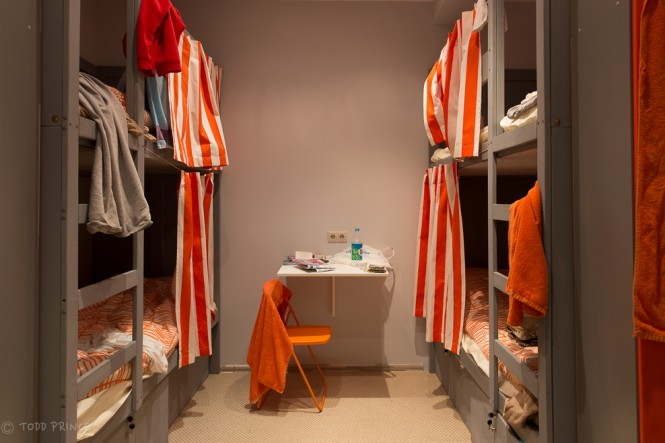 The four-bed hostel room.