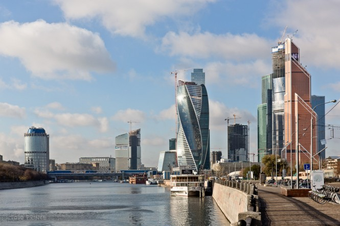 A view of the Moscow Financial District from the river side. The Empire skyscraper, where the hostel is located, stands behind and to the right of the twisting Evolution skyscraper (centre).