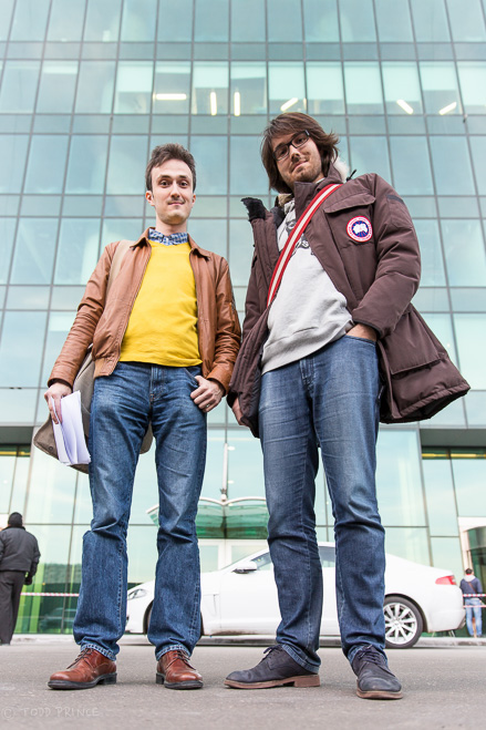 High Level hostel founders Eduard  Chiganov and Roman Drozdenko in front of the Empire skyscraper. The hostel is located on the 43rd floor.