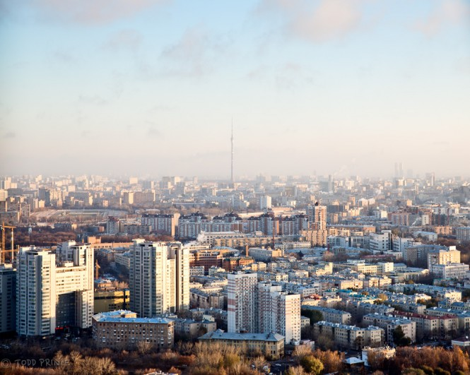 The Ostankino TV Tower can be seen from the hostel on a clear day.