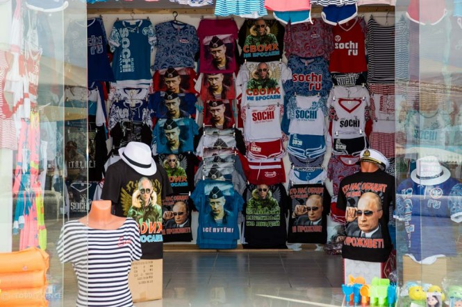 Putin t-shirts on sale at stores along the Sochi boardwalk