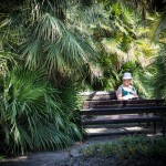 A Russian woman reading among the tropical trees in Sochi.