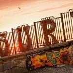 A 'SURF' sign on the Sochi beach.