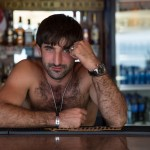 A Georgian bartender working on the Sochi boardwalk.