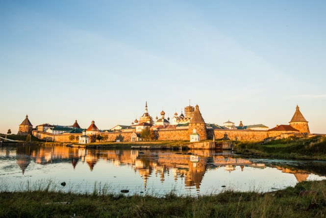 Solovetsky Monastery during an autumn sunset.