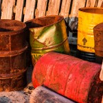 Rusting oil barrels on Solovki.