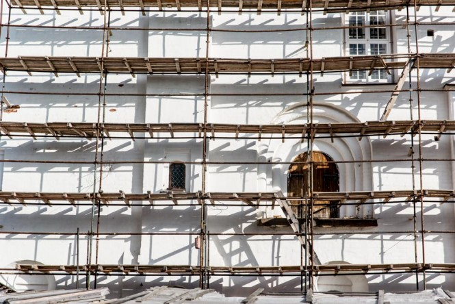Scaffolding on the church inside the Monastery walls.