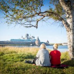 Two cruise boat workers enjoying Solovki's beauty.