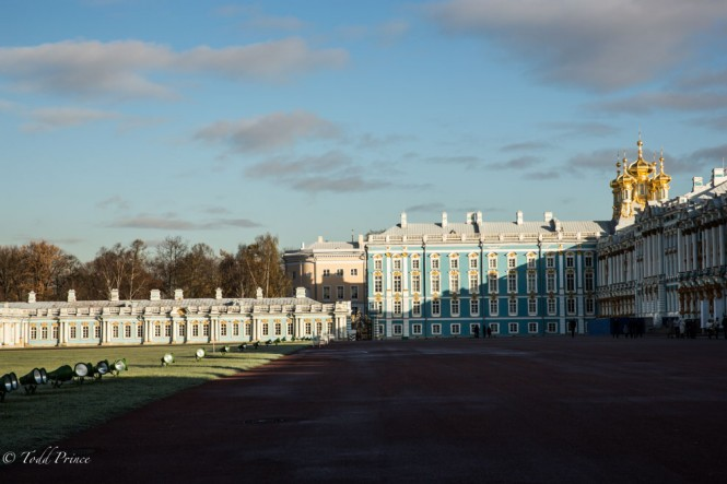 The sun was still low in the sky creating stark contrast on the Catherine Palace walls.