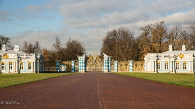 The heavy metal gates on the northern side of the Catherine Palace.