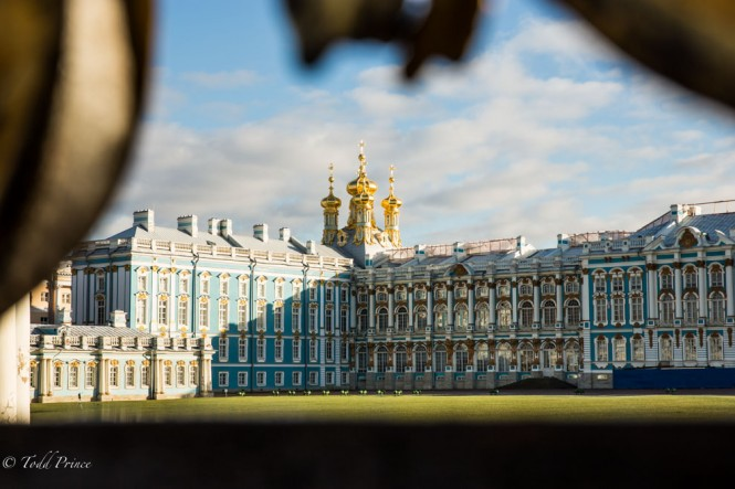 The palace and church as seen through the metal gates.