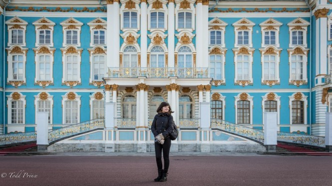 My travel partner, Maria, standing in front of the palace.