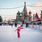 A Russian child skates on Red Square ahead of New Year's celebration.
