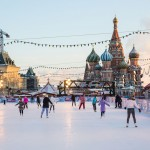 An ice skating rink covers Red Square as St. Basil's rises in the background.