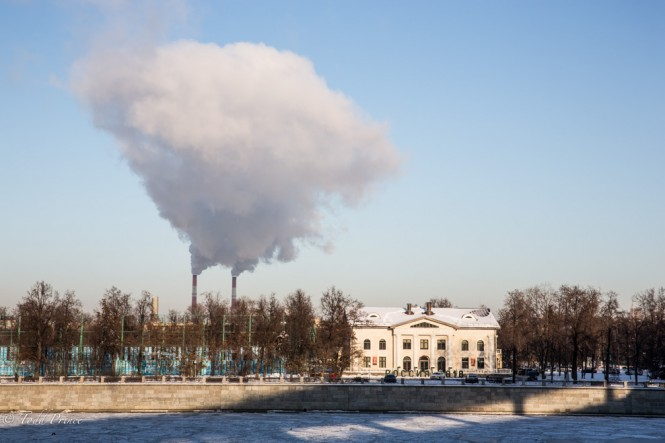 This Moscow power station creates of cloud of steam above the city.