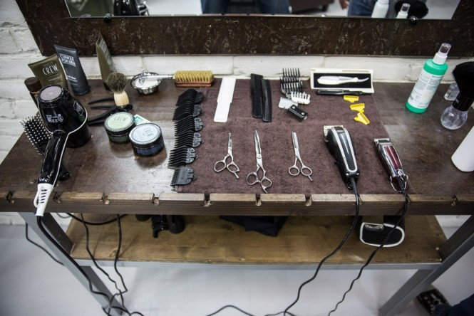 The barber's tools at Top Gun in St. Petersburg.