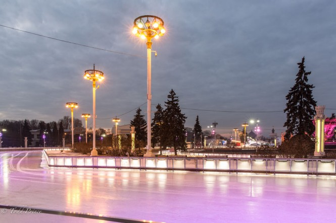 The city has added tens of thousands of colored lights, which makes the ice glow.