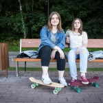 Rita and Maria, 18, at Vorobyovskaya Naberezhnaya with their boards. Maria (right) has been skateboarding for two years while Rita took it up in May to keep her friend company. The schoolmates will attend different universities in the fall.