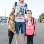 Vitali was walking with his children and wife at Gorky Park in his NYC shirt.