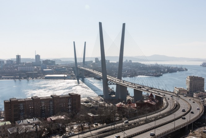 A view of one of the new bridges in Vladivostok.