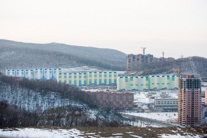 Another view of the new Snow Fall housing complex as seen from the new highway in Vladivostok.
