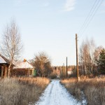 The road leading away from the abandoned church in Vladimir region.
