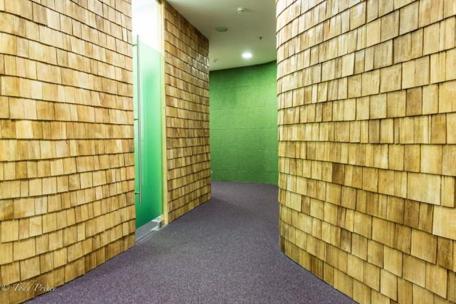 Some of the Yandex hallways curve and most are painted in a bright color, like green here.