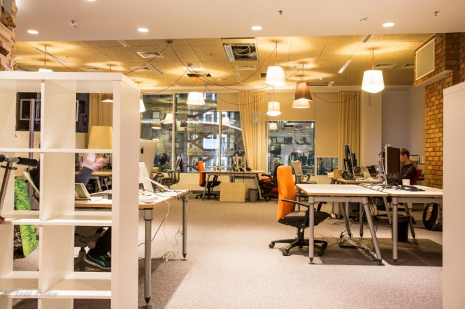 A work area in Yandex around 7pm at night.