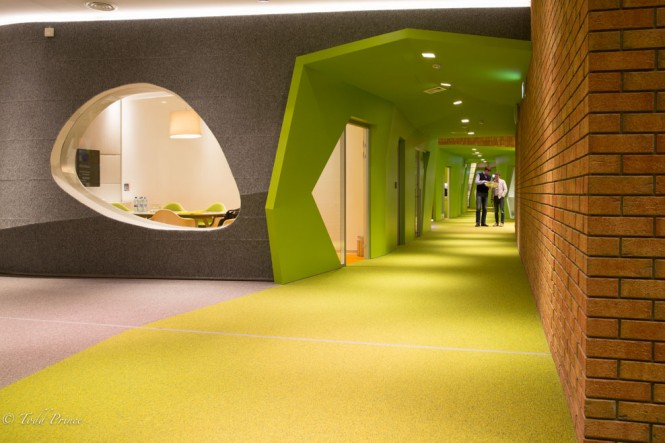 A green hallway in the Yandex office building.