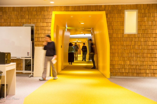 Yandex employees moving through the halls.