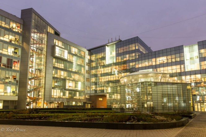 Inside the Yandex courtyard. The photograph is taken in the direction of the main entrance area.