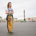 Nastya, 15, started to skateboard in April.
