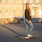 Daria, 17, was skateboarding on Palace Square at sunset. She said she started skating in 2014.